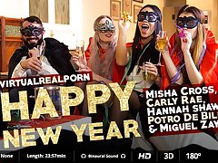 Carly Rae  Hannah Shaw  Miguel Zayas  Misha Cross  Potro de Bilbao in Happy New Year - VirtualRealPorn